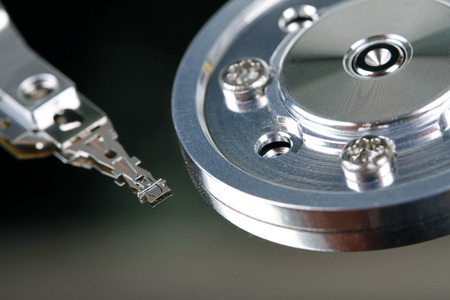 hard component: HDD - close up of computer hard disk Stock Photo