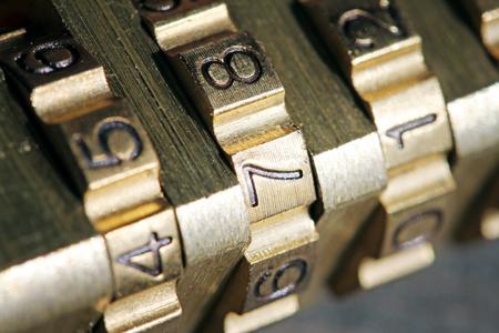 combination: macro shot of padlock combination numbers