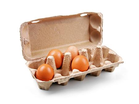 egg box: cardboard egg box isolated on white