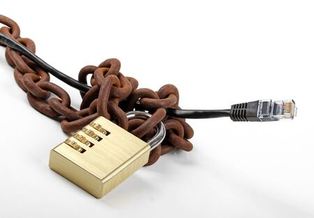 censorship: censored internet concept - cable with chain and padlock Stock Photo