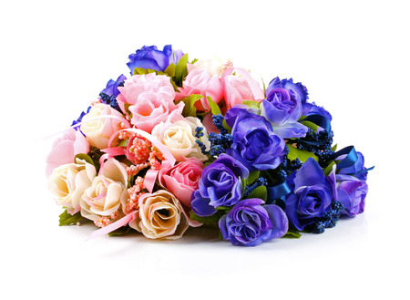 peal: colorful rose bouquet isolated on white