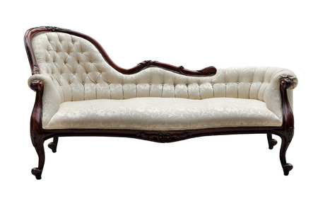 vintage style couch isolated on white Standard-Bild