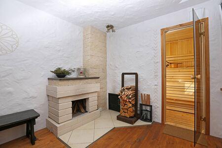interior shot: interior shot of sauna lounge Stock Photo