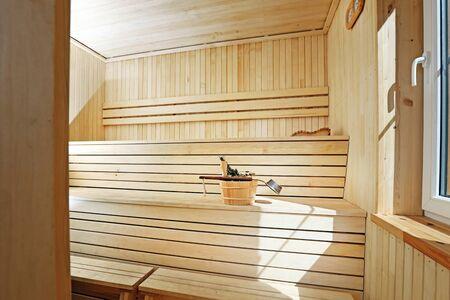 finland sauna: classic style wooden sauna interior