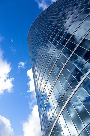 business office building exterior against blue sky