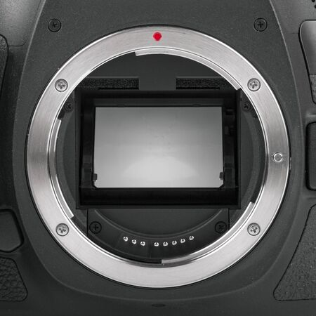 cmos: closeup of camera sensor mirror