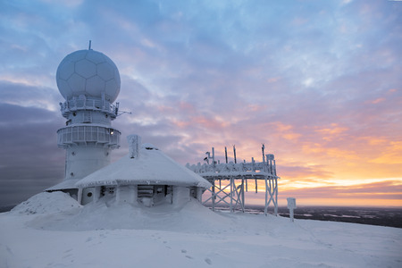 weather radar station on the top of the mountain -  Finland, Luosto