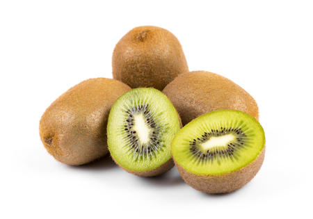 kiwi fruit isolated on white background 版權商用圖片