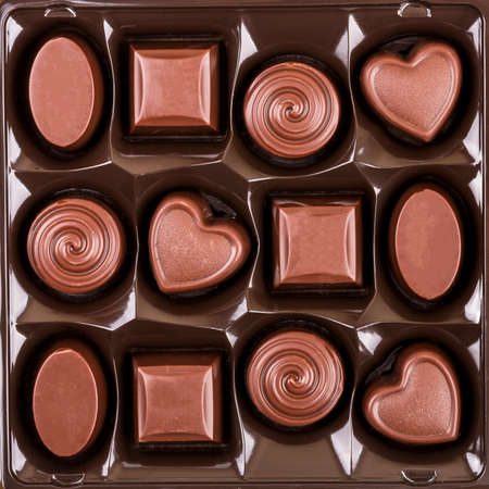 chocolate candy: assorted chocolate candy box, top view