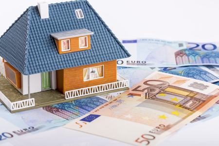 real estate industry: miniature house model on euro money banknotes. real estate industry concept Stock Photo