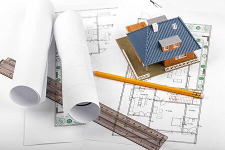 housing development: housing development, new real estate project, house on blueprints