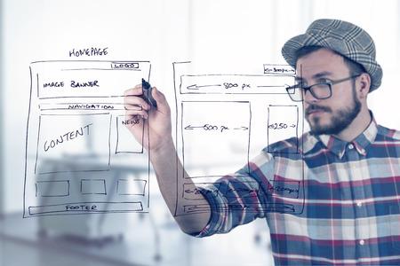 web designer drawing website development wireframe 스톡 콘텐츠