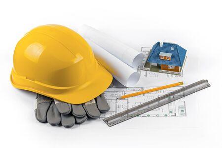 Projet de construction de maisons - outils et équipements sur plans