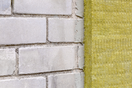 rock wool: house exterior insulation with mineral rock wool Stock Photo