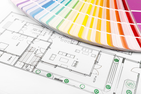 paint samples: color selection - paint samples with house floor plan Stock Photo