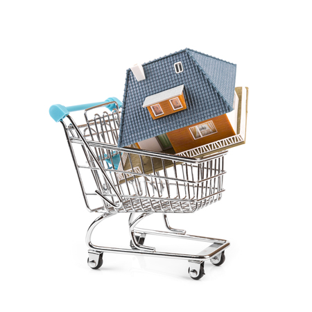 buy new real estate concept, house in a shopping cart