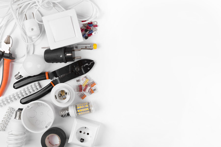 top view of electrical tools and equipment on white Stockfoto