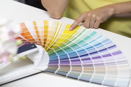 wheel house: woman choosing paint color from tone samples