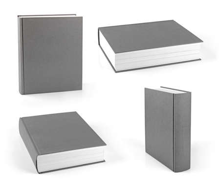 set of blank gray hardcover books isolated on white Stock Photo