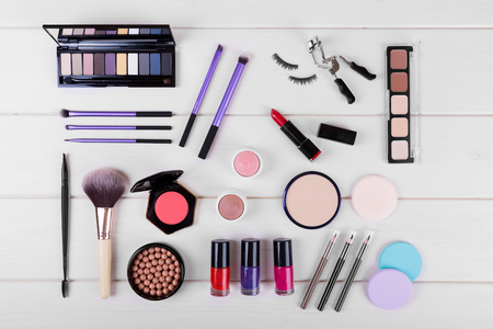 collection of cosmetics for perfect womans makeup