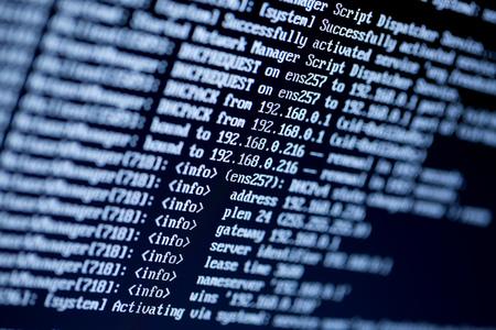 serverconfiguratie commando lijnen op een monitor