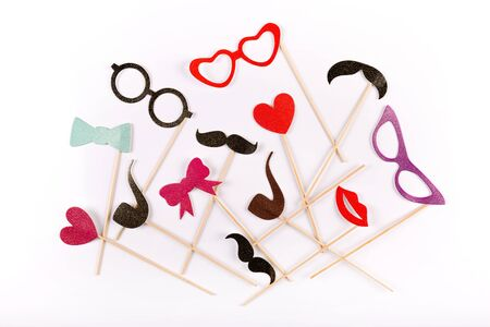 stuff toy: carnival party accessories on white background