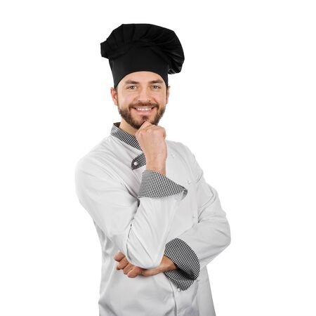 happy smiling chef with hand on chin isolated on white