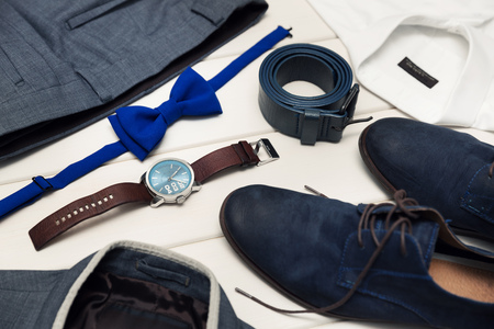 fashion clothes: gentleman kit - mens fashion clothes and accessories Stock Photo