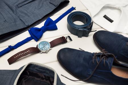 gentleman kit - men's fashion clothes and accessories Standard-Bild