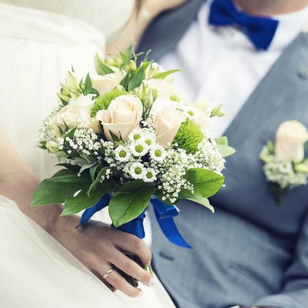 closeup of wedding bouquet in brides hand