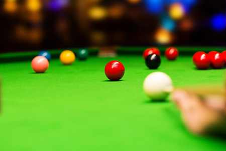 playing snooker in bar Stock Photo