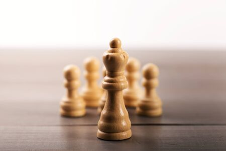 leadership concept - leader in front of the team Stock Photo