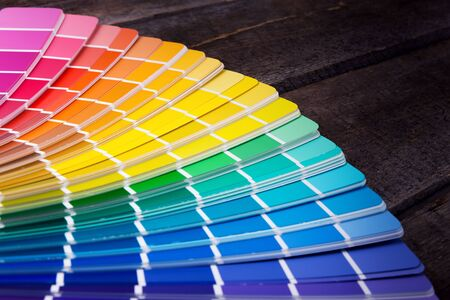 color palette guide of paint samples catalog Stock Photo
