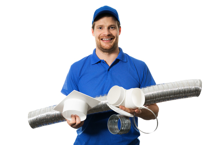 air conditioning and ventilation system equipment in engineer hands