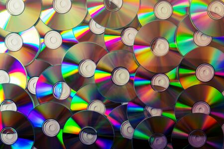 cd collection background. top view