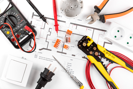Electrical tools and equipment on circuit diagram top view stock electrical tools and equipment on circuit diagram top view stock photo 96773476 ccuart Image collections