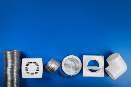 ventilation system equipment on blue background with copy space. top view Stok Fotoğraf