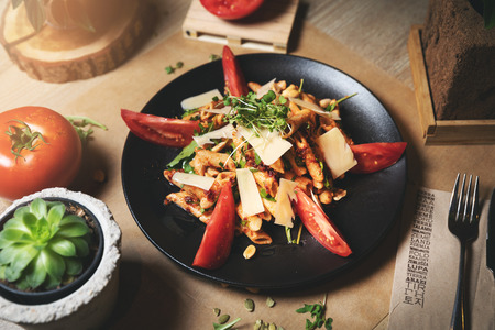 whole grain pasta salad with tomatoes