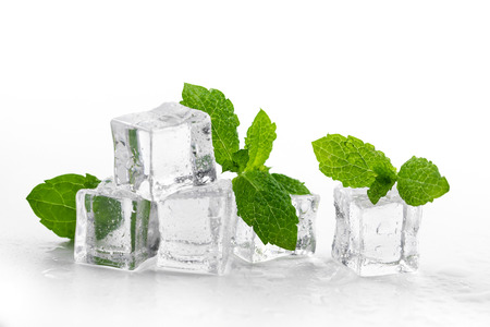 mint and ice cubes isolated on white background