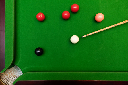 black ball shot in snooker game. top view 免版税图像