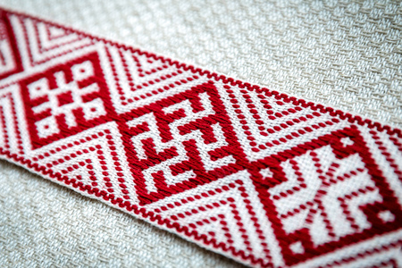 national symbols of Latvia - closeup of Lielvarde belt
