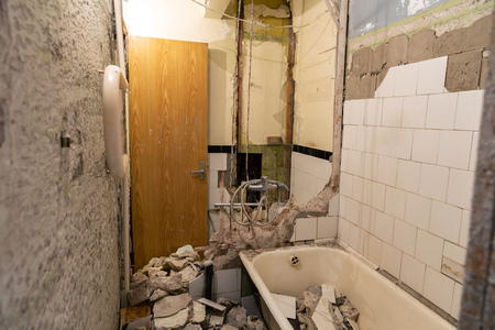 old bathroom demolition before complete renovation