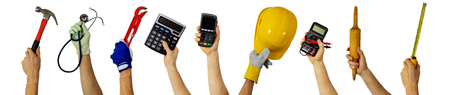 workforce - various profession workers with work tools in hands 版權商用圖片