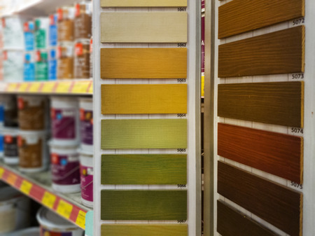 wood protective paint color samples in building material store