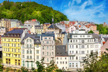 beautiful architecture of karlovy vary city in czech republic