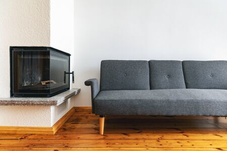 modern bright interior with fireplace and gray sofa on natural wood plank floor