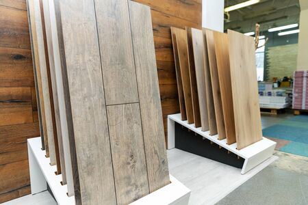 home improvement - laminate flooring samples in a shop Standard-Bild