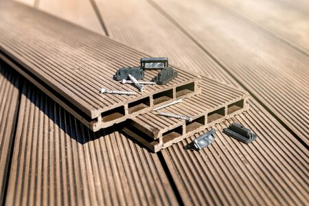 WPC terrace - wood plastic composite material decking boards and fixings
