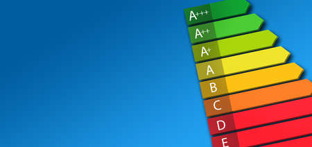 energy efficiency rating class chart on blue background. banner