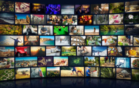 smart television. media content on demand. tv channel pack. blurred background